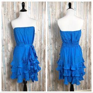 Rebecca Taylor 8 Ruffle 100% Silk Cha Cha Dress